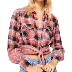 NWT Free People First BloomPlaid Tie Front Top